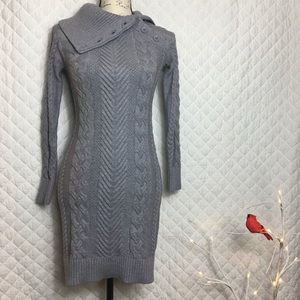 Gray Chunky Cable Knit Shawl Neck Sweater Dress S